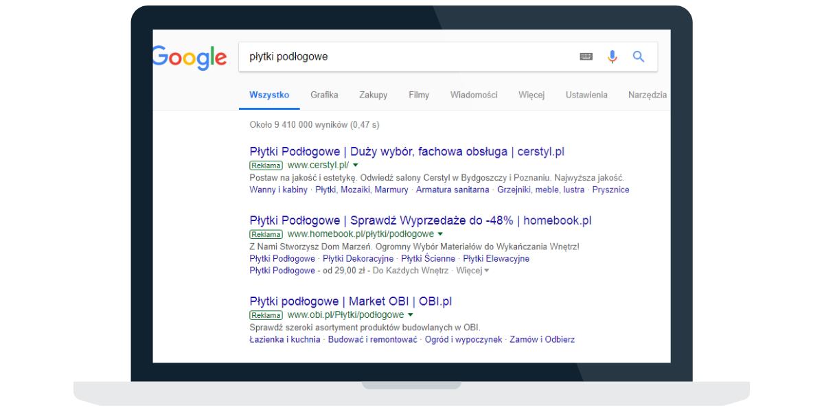 Google Ads - Wyniki wyszukiwania